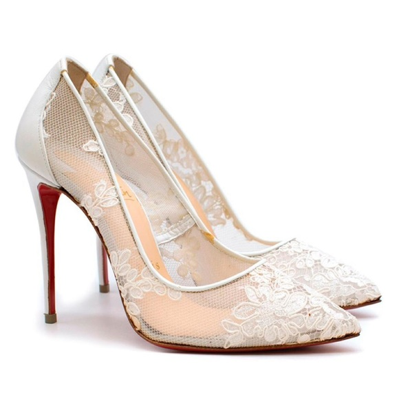 1b9e77c63874 Christian Louboutin Follies Lace 100mm White Pumps